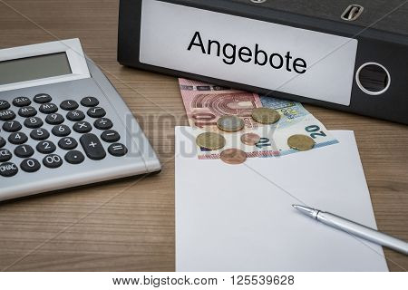 Angebote Written On A Binder