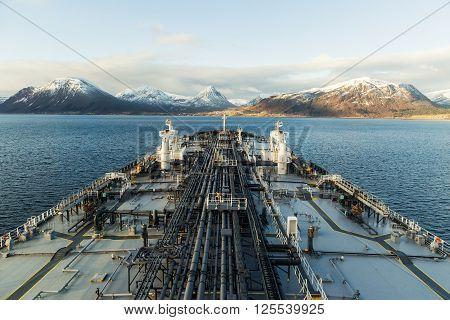 Big crude oil tanker in fiord - Norway.