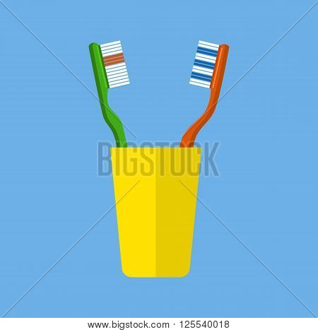 Tooth brush vector. Teeth and Tooth brush in a yellow cup vector illustration in Flat design .  Isolated toothbrushes. Healthcare vector with tooth brushes.