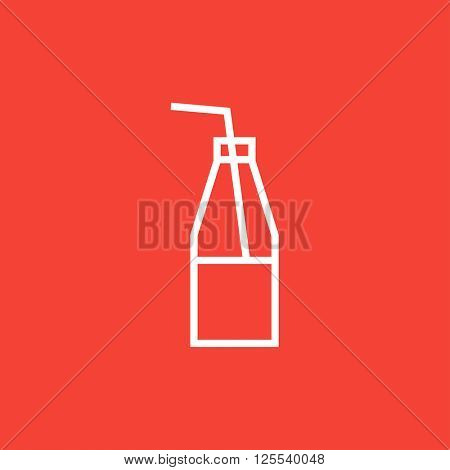 Glass bottle with drinking straw line icon.