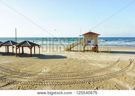 Lifeguard station in Tel Aviv beach at winter.