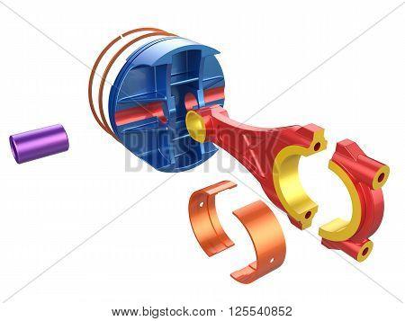 3D render piston. Detail of automobile engine.