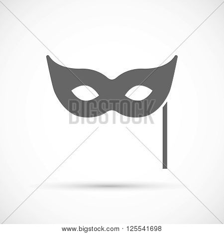 Traditional Venetian Carnival Mask Flat Icon on white background