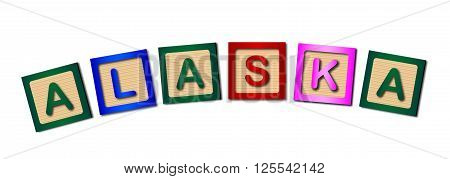 A collection of wooden block letters spelling ALASKA over a white background