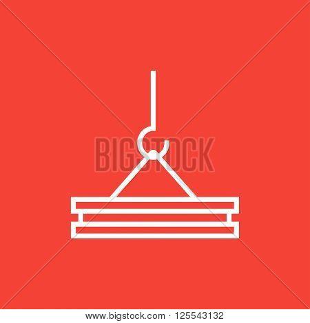 Crane hook line icon.