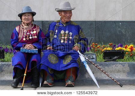 Ulan Bataar, Mongolia, July, 20 - People In Traditional Clothes During Naadam Midsummer Festival, On