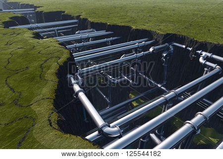 Pipes inside the earth fault..3d render