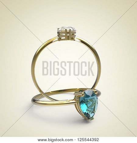 Wedding rings with diamonds on a light background. Fashion jewelry. 3d digitally rendered illustration