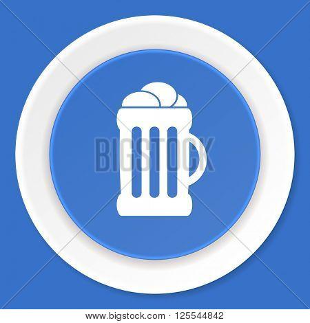 beer blue flat design modern web icon