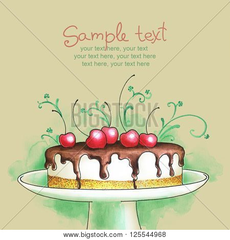 Painted watercolor cream cake with chocolate and cherries on cake stand