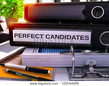Perfect Candidates - Black Office Folder on Background of Working Table with Stationery and Laptop. Perfect Candidates Business Concept on Blurred Background. Perfect Candidates Toned Image. 3D.