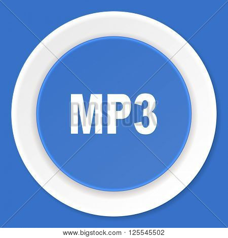 mp3 blue flat design modern web icon