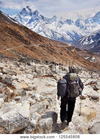 Hiker on Everest Base Camp Trek with Mount Ama Dablam in the background, Sagarmatha National Park, Nepal Himalaya.