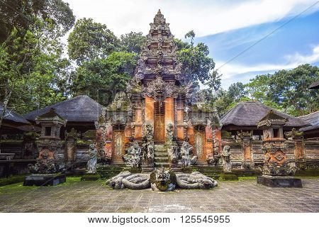 Hindu temple at Monkey Forest Sanctuary in Ubud, Bali, Indonesia.
