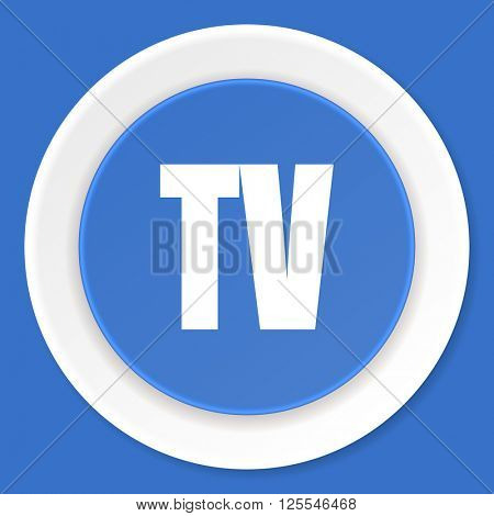 tv blue flat design modern web icon