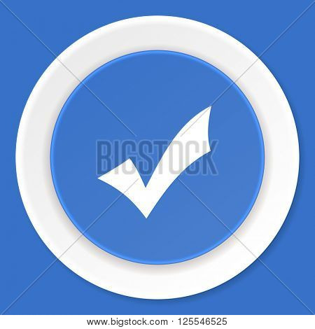 accept blue flat design modern web icon