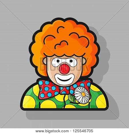 clown icon dressed in polka dots in the contour style
