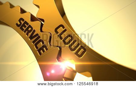 Cloud Service on Mechanism of Golden Cog Gears with Glow Effect. Cloud Service on the Mechanism of Golden Metallic Gears. Golden Gears with Cloud Service Concept. Cloud Service - Concept. 3D.