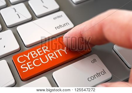 Aluminum Keyboard with Cyber Security Orange Keypad. Hand Touching Cyber Security Button. Hand Pushing Cyber Security Orange Modernized Keyboard Button. 3D Illustration.