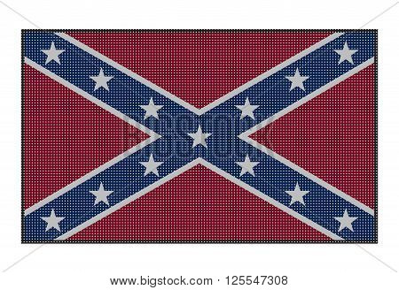 A Confederate flag with white dots isolated on a white background