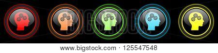 head colored web icons set on black background