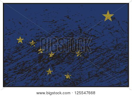 A grunged Alaska state flag isolated on a white background