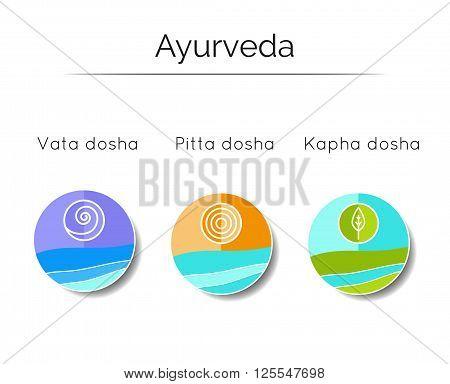 Ayurvedic vector illustration. Ayurvedic doshas vata, pitta, kapha. Ayurvedic body types and symbols in linear style. Alternative medicine. Indian medicine.