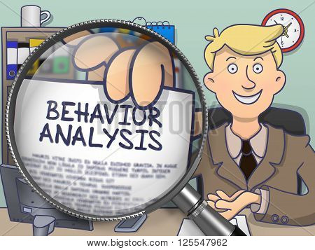Behavior Analysis on Paper in Man's Hand through Magnifying Glass to Illustrate a Business Concept. Multicolor Doodle Illustration.