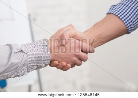 Two business partners agreed to sign contract or agreement in office. Two business people shaking hands indoors.