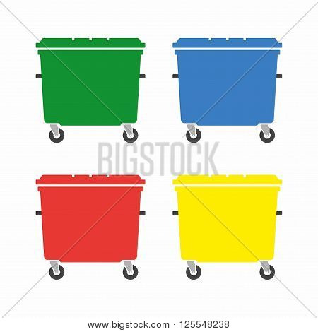 Wheelie bin icon set. Plastic containers for waste.
