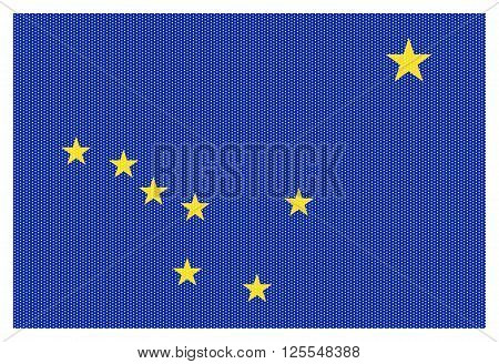 An Alaska state flag with white dots isolated on a white background