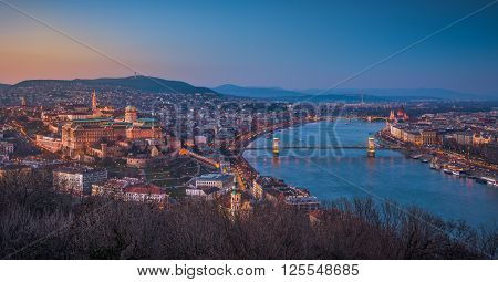 Panoramic View of Budapest and the Danube River as Seen from Gellert Hill Lookout Point at Twilight