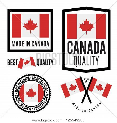 Made in Canada label set. Vector Canada flag. Symbol of quality. Manufacturing by Canada. Tags and sticker collection. Vintage and modern stamp.