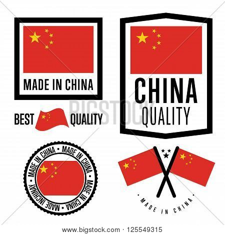 Made in China label set. Vector China flag. Symbol of quality. Manufacturing by China. Tags and sticker collection. Vintage and modern stamp.