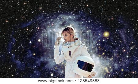 futuristic astronaut without  helmet, the white background