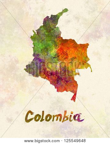 Colombia map in artistic and abstract watercolor