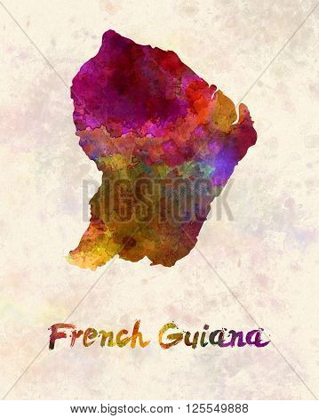 French Guiana map in artistic and abstract watercolor