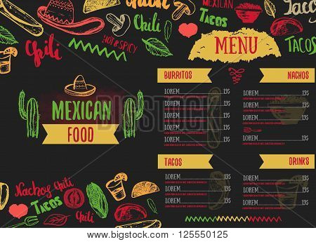 Vintage Mexican Food menu with lettering. Mexican food tacos, burritos, nachos. Mexican kitchen. Can be used for restaurant, cafe wrapping