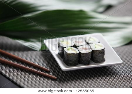 Sushi in a small dish
