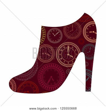 Ankle boot with clocks pattern. Vector creative concept.