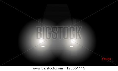 Vector silhouette of truck with headlights on black background.