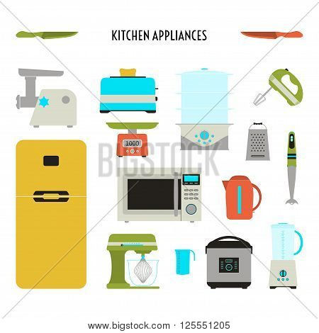 Vector illustration of kitchen icon set. Flat design of kitchen appliances. Kitchen tools collection. Cartoon style.