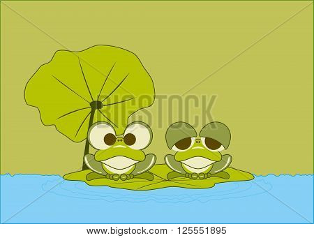 Two Little Green Frogs Rest on Lotus Leaf