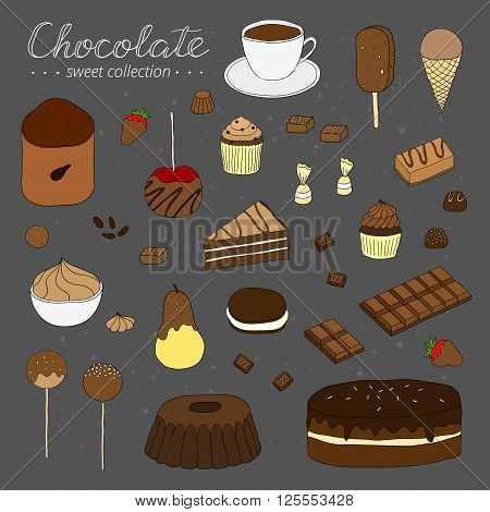 Hand drawn chocolate products isolated on chalkboard. Cocoa, chocolate cake, cupcake, bundt, ice cream, cake pop, hot chocolate, candies, chocolate strawberry, pear, apple. Lettering.
