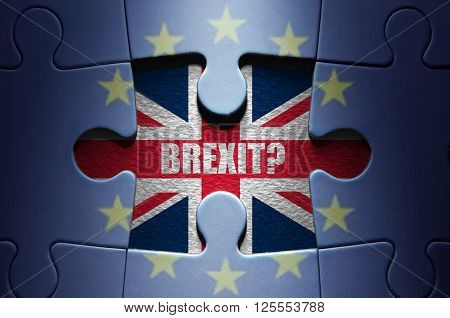 Brexit British flag missing piece from a European jigsaw puzzle