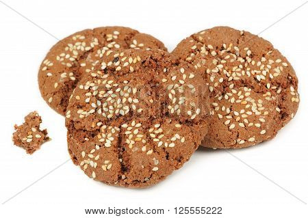 Chocolate sesame seed cookies isolated on white background