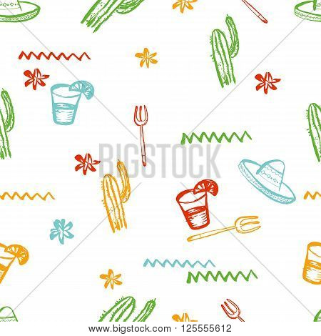 Vector seamless mexican pattern. Mexican tequila, cactus, sombrero. Can be used for restaurant, cafe. Mexican food menu