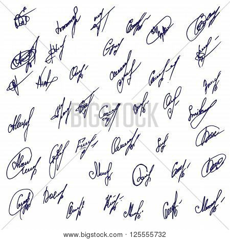 Big Signatures set - group of fictitious contract signatures. Business autograph illustration