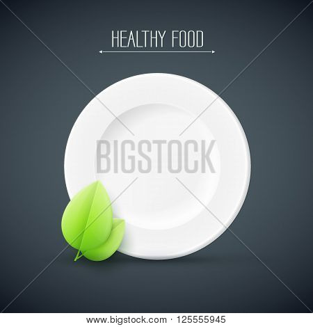 white plate with healthy food text on black