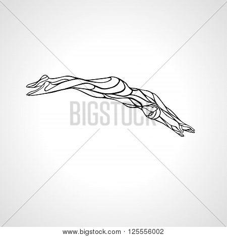 Professional Female Swimmer Diving Into A Swimming Pool. Vector black and white lineart silhouette illustration on white background